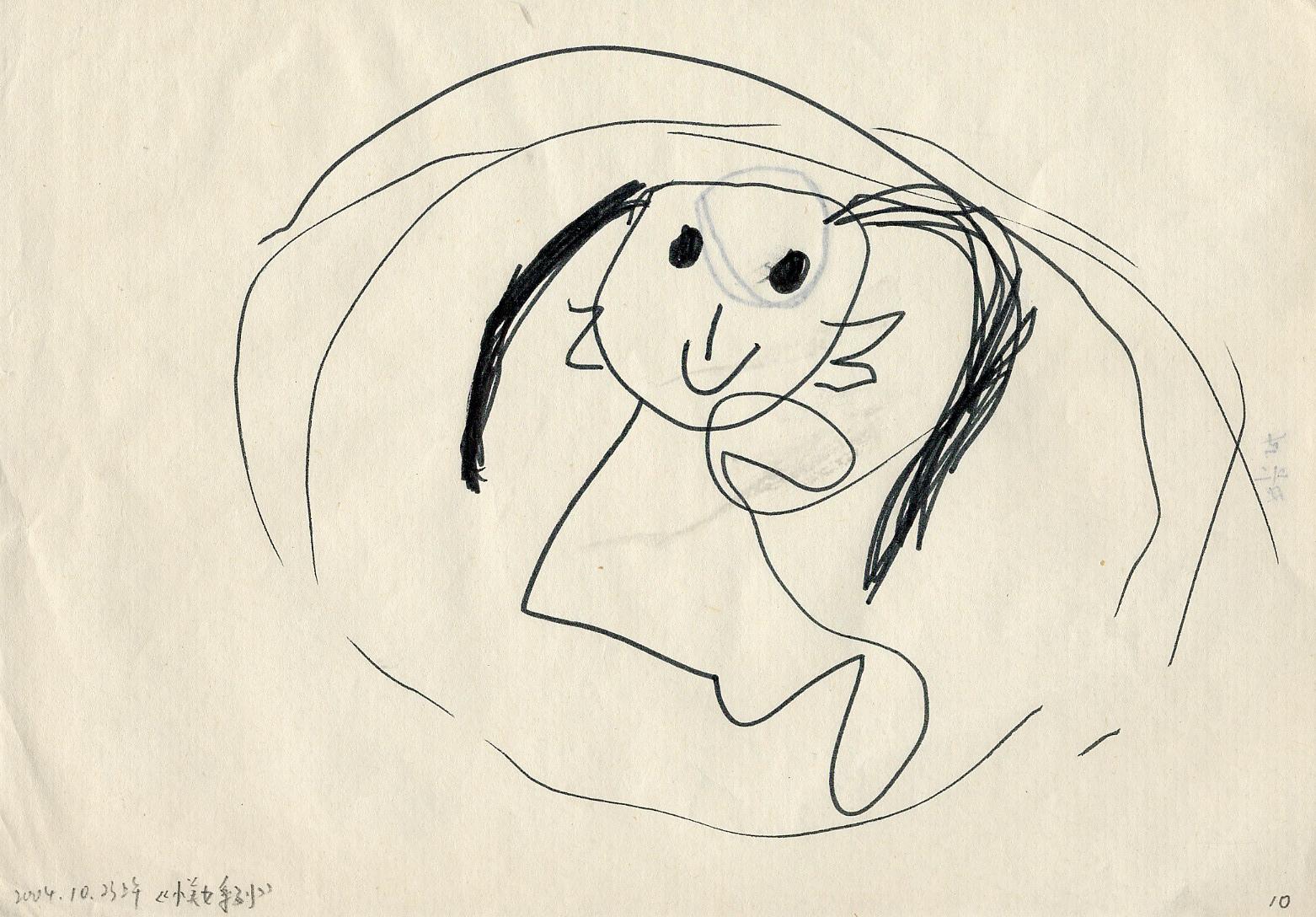"""这张画的背后有妈妈的铅笔记录:""""这一天是爸爸创办的幼儿美术"""