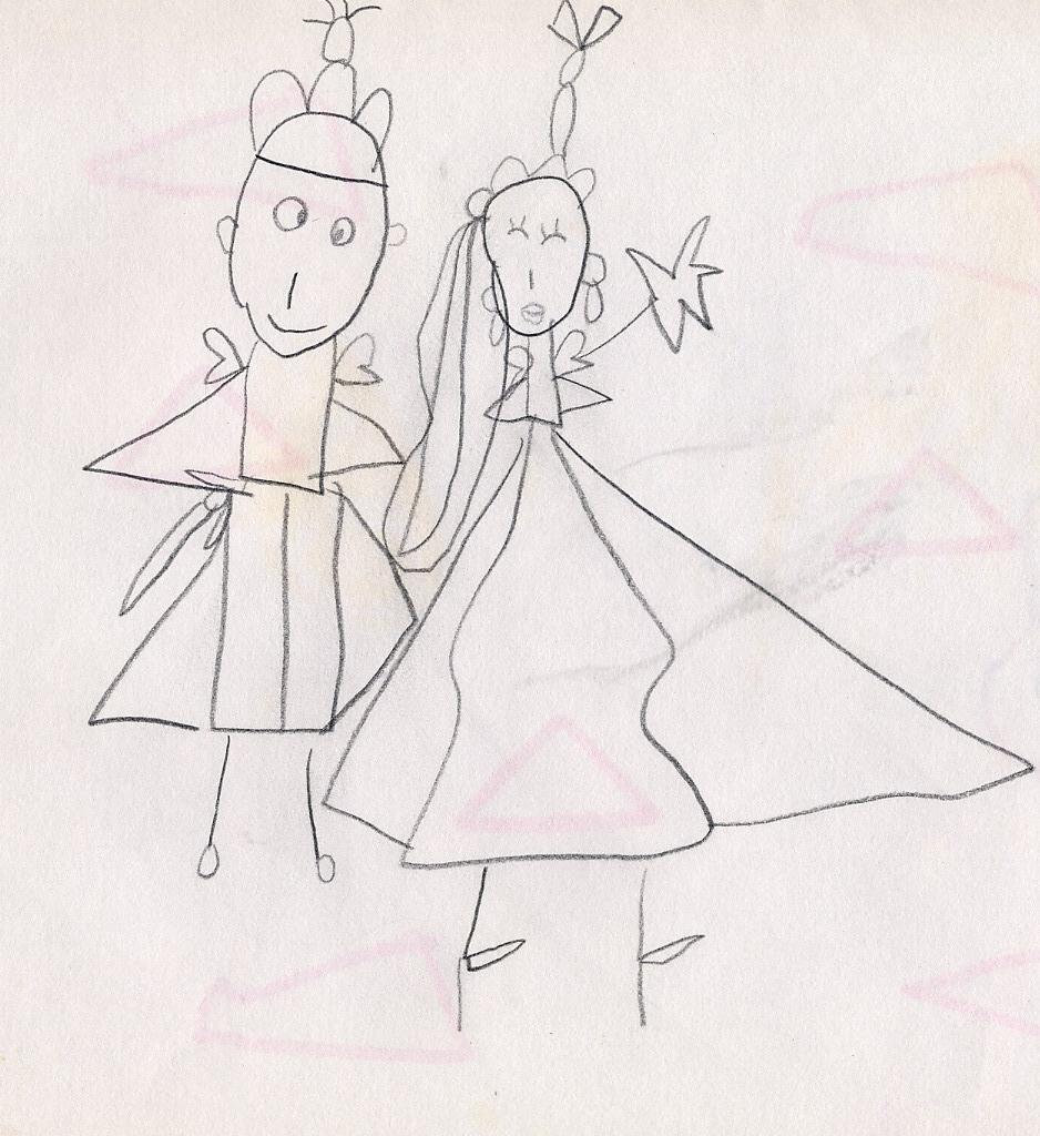 好看的公主裙手绘铅笔画
