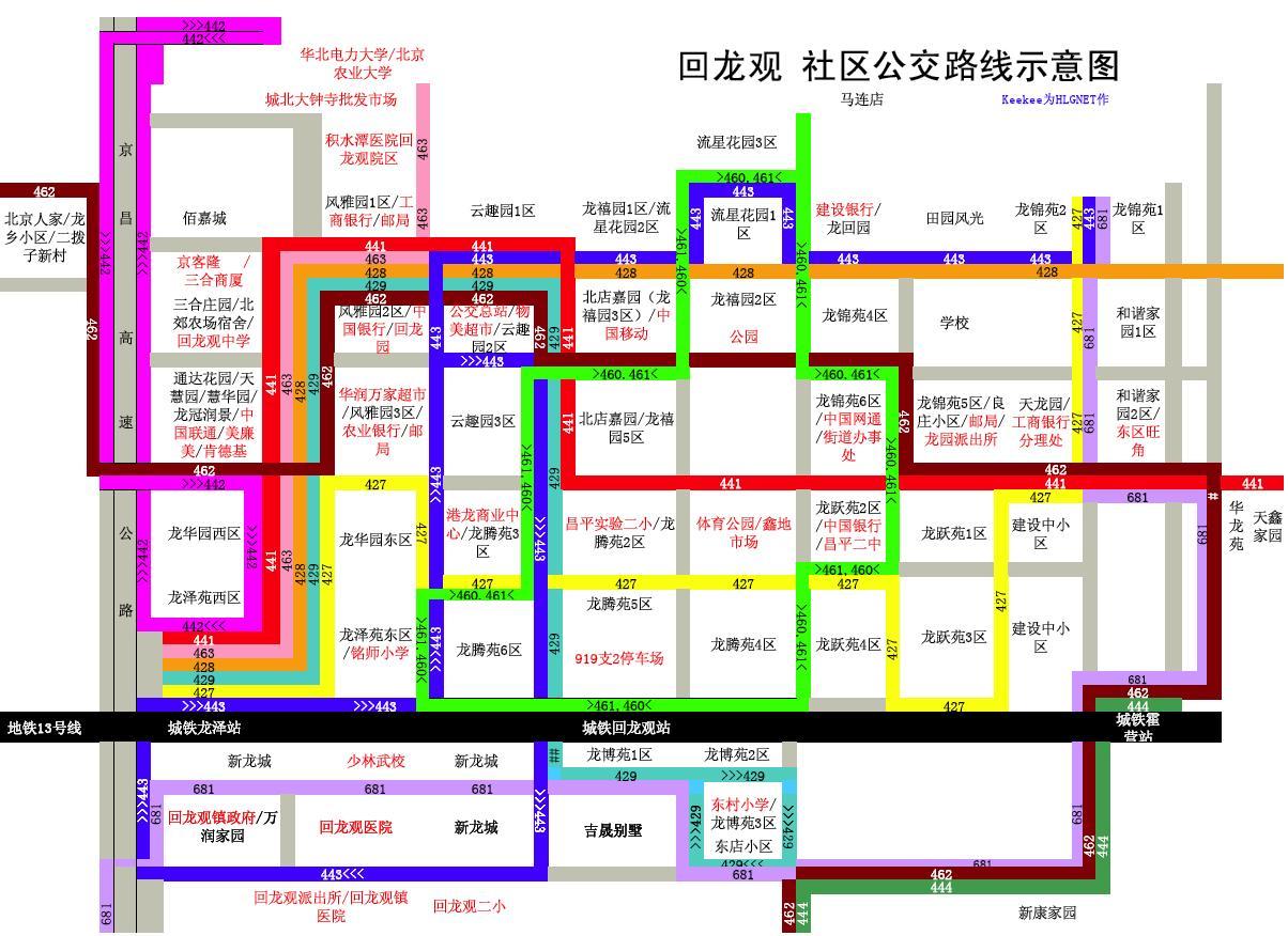 矩阵周边公交车线路图以及城铁13号线列车时